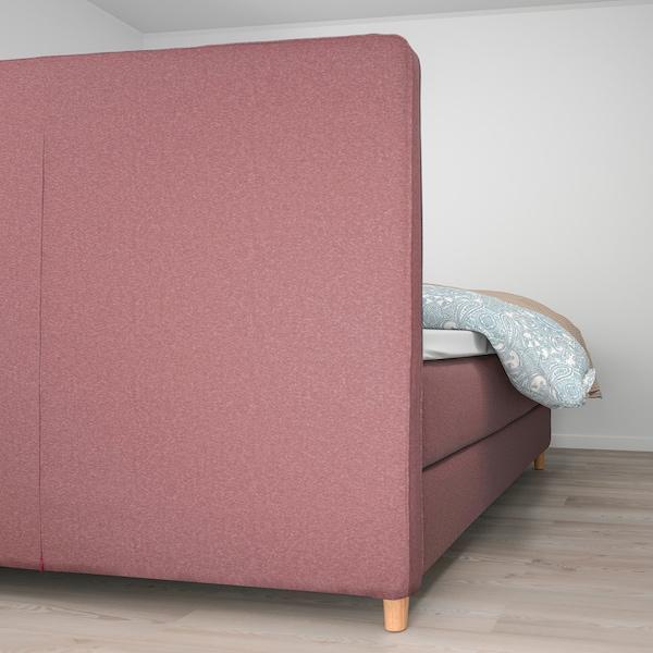 DUNVIK Lit/sommier, Hövåg mi-ferme/Tussöy Gunnared brun-rose clair, 160x200 cm