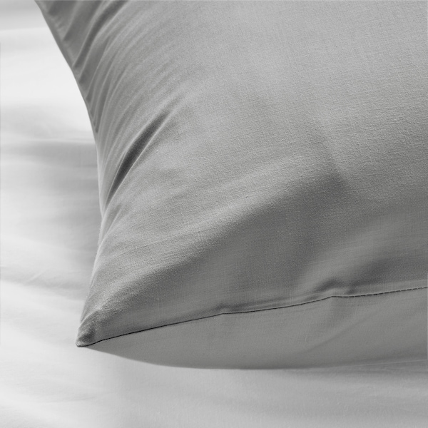 DVALA Taie d'oreiller, gris clair, 50x60 cm