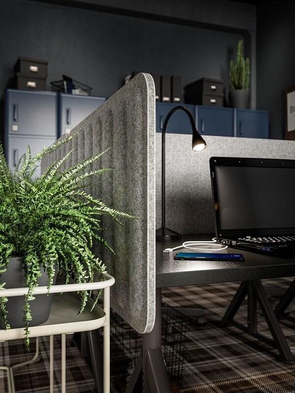 EILIF Séparateur bureau, gris, 120x48 cm