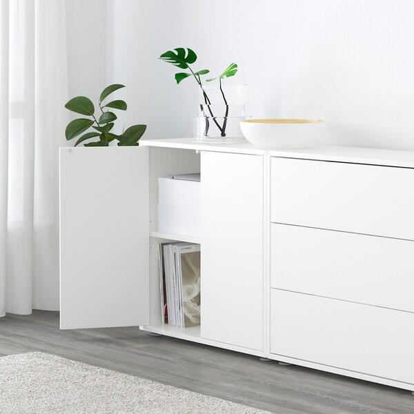 EKET Combinaison rangement avec pieds, blanc/gris clair/gris foncé, 210x35x180 cm