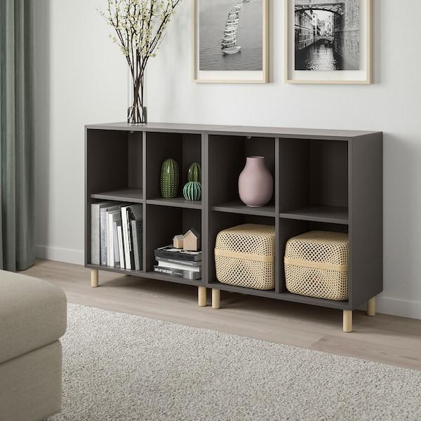 EKET Combinaison rangement avec pieds, gris foncé/bois, 140x35x80 cm