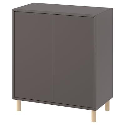 EKET Combinaison rangement avec pieds, gris foncé/bois, 70x35x80 cm