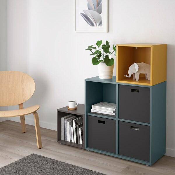 EKET Combinaison rangement avec pieds, gris foncé gris turquoise/brun doré, 105x35x107 cm