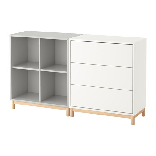 eket combinaison rangement avec pieds blanc gris clair ikea. Black Bedroom Furniture Sets. Home Design Ideas