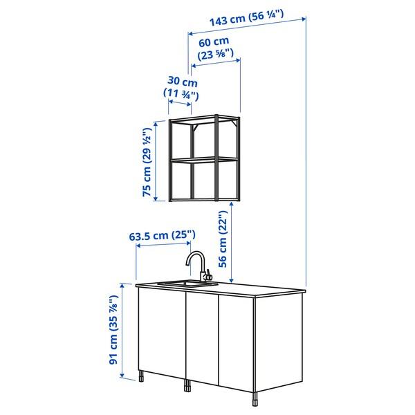 ENHET Cuisine, anthracite/gris avec cadre, 143x63.5x222 cm