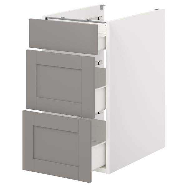 ENHET Élément bas av 3 tiroirs, blanc/gris avec cadre, 40x62x75 cm