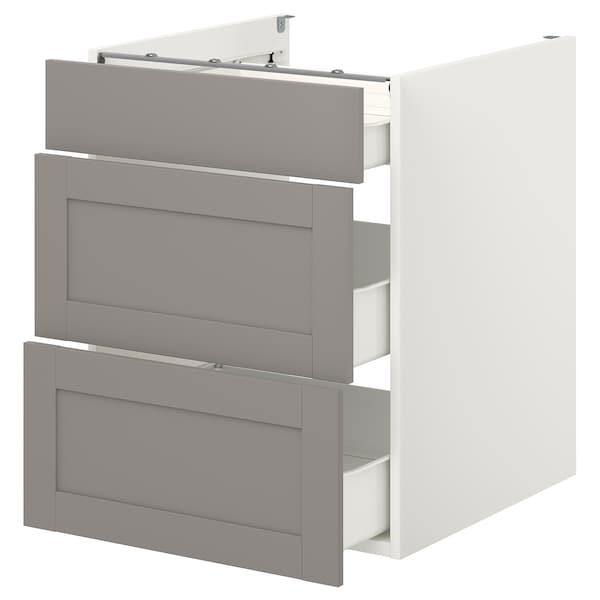 ENHET Élément bas av 3 tiroirs, blanc/gris avec cadre, 60x62x75 cm