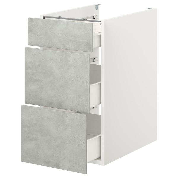 ENHET Élément bas av 3 tiroirs, blanc/imitation ciment, 40x62x75 cm