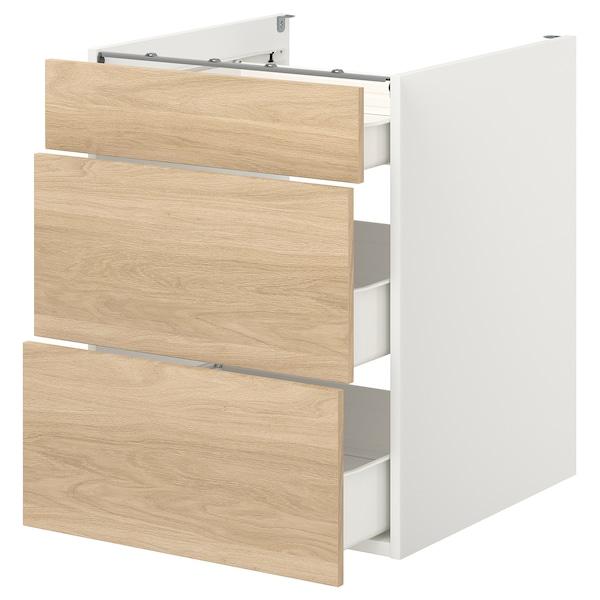 ENHET Élément bas av 3 tiroirs, blanc/motif chêne, 60x62x75 cm