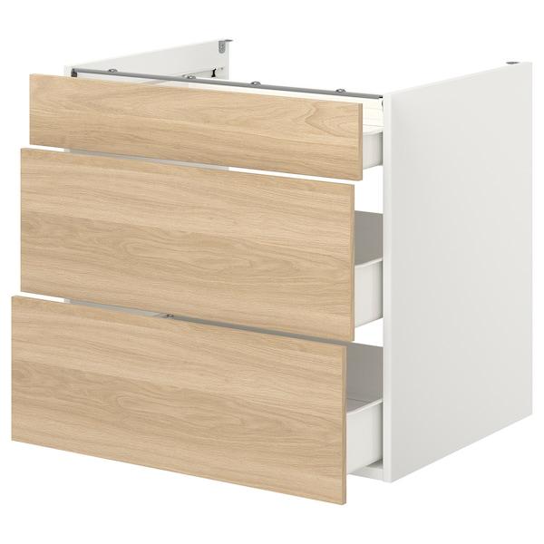 ENHET Élément bas av 3 tiroirs, blanc/motif chêne, 80x62x75 cm