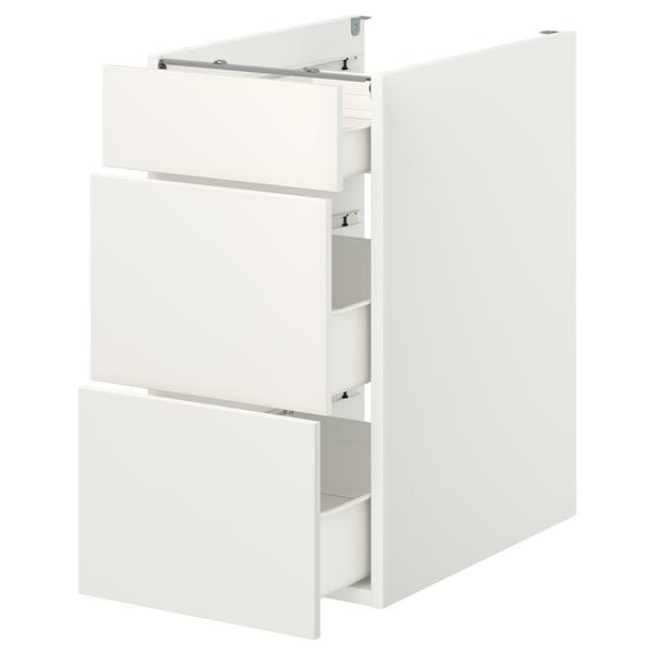 ENHET Élément bas av 3 tiroirs, blanc, 40x62x75 cm