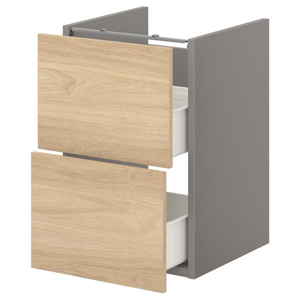 ENHET Élément bas lavabo av 2 tiroirs, gris/motif chêne, 40x40x60 cm