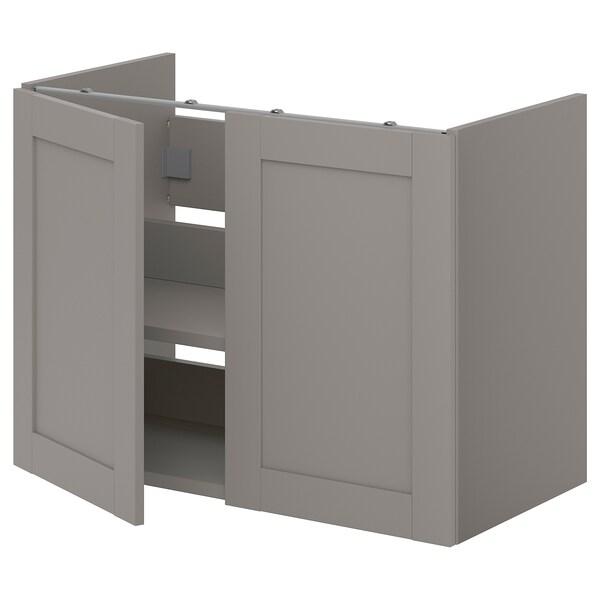 ENHET Élt bas lab av tabl/ptes, gris/caisson gris, 80x40x60 cm