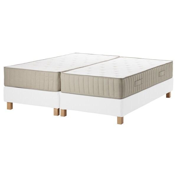 ESPEVÄR/VATNESTRÖM Lit/sommier tapissier, blanc/ferme naturel, 180x200 cm