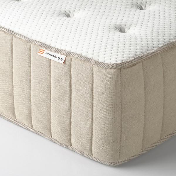 ESPEVÄR/VATNESTRÖM Lit/sommier tapissier, blanc/mi-ferme naturel, 180x200 cm