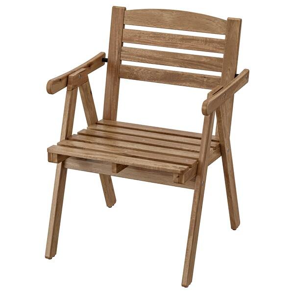 FALHOLMEN chaise avec accoudoirs, extérieur teinté brun clair 110 kg 57 cm 55 cm 80 cm 50 cm 42 cm 42 cm