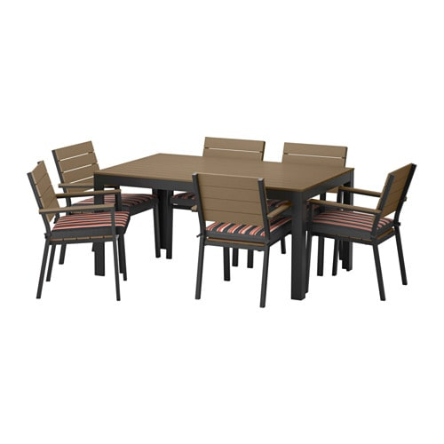 Falster table 6 chaises accoud ext rieur falster brun for Table exterieur noire