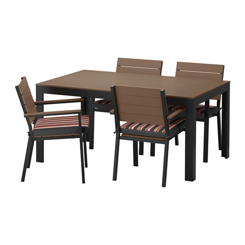 Falster table 4 chaises accoud ext rieur falster brun for Table exterieur noire