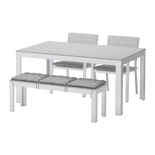 falster table 2 chaises banc ext falster gris h ll gris ikea. Black Bedroom Furniture Sets. Home Design Ideas