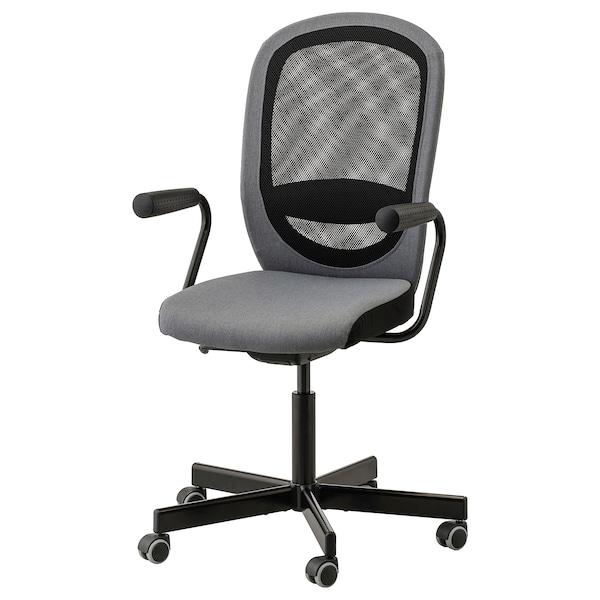 FLINTAN / NOMINELL Chaise de bureau av accoudoirs, gris