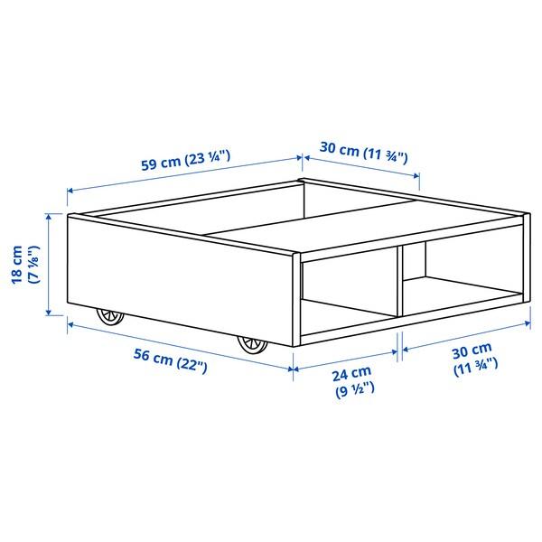 FREDVANG Rangement sous lit/table de chevet, blanc, 59x56 cm