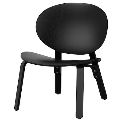 FRÖSET Fauteuil, teinté noir plaqué chêne