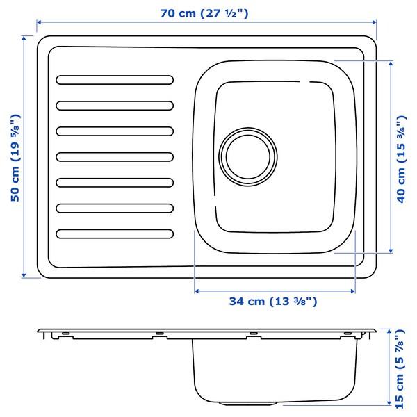 FYNDIG Évier intégré, 1 bac avec égouttoir, acier inoxydable, 70x50 cm
