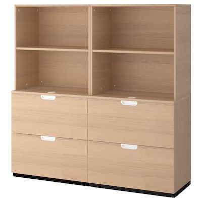 GALANT Combinaison rangements av dossiers, plaqué chêne blanchi, 160x160 cm