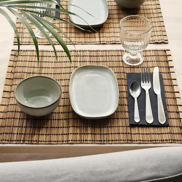 GLADELIG Assiette, gris, 20x13 cm