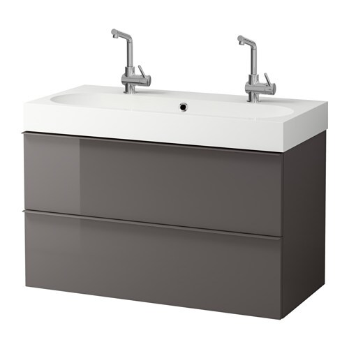 godmorgon br viken meuble lavabo 2tir brillant gris ikea. Black Bedroom Furniture Sets. Home Design Ideas