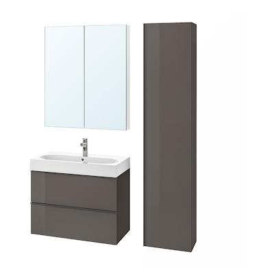 GODMORGON / BRÅVIKEN Mobilier salle de bain, 5 pièces, brillant gris/mitigeur lavabo Brogrund, 80 cm
