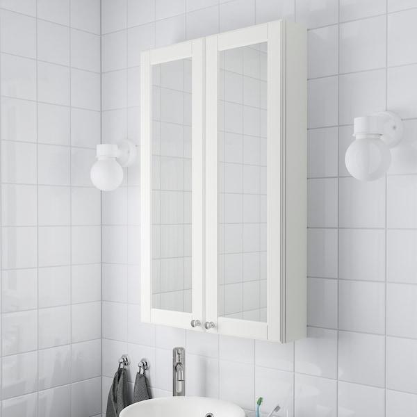 GODMORGON Meuble à miroir 2 portes, Kasjön blanc, 60x14x96 cm