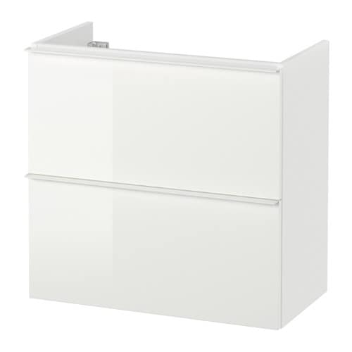 Godmorgon meuble lavabo 2tir brillant blanc 60x30x58 cm for Ikea meuble salle de bain godmorgon