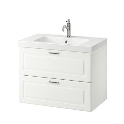 GODMORGON / ODENSVIK Meuble lavabo 2tir, Kasjön blanc/Hamnskär mitigeur lavabo, 83x49x64 cm