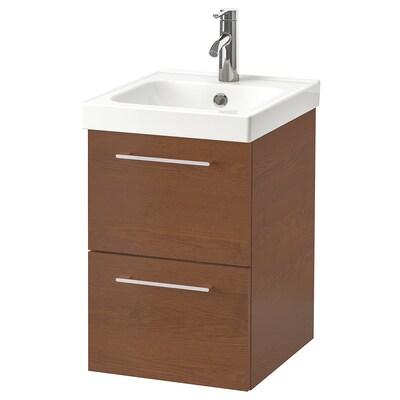 GODMORGON / ODENSVIK Meuble lavabo 2tir, motif frêne effet brun moyen/Dalskär mitigeur lavabo, 43x49x64 cm