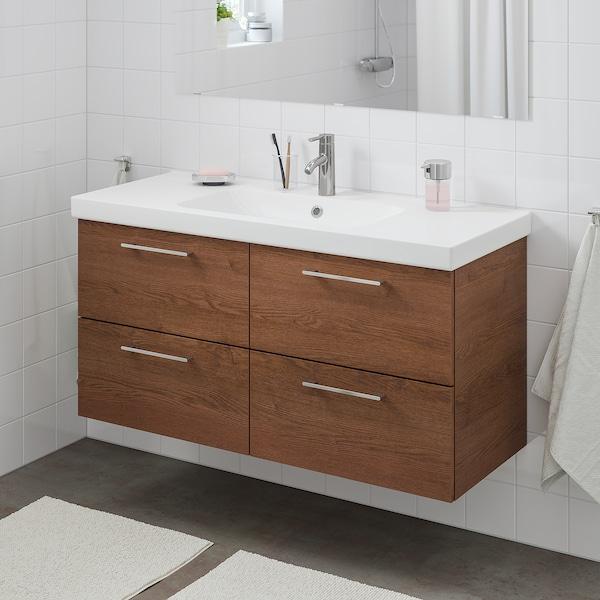 GODMORGON / ODENSVIK Meuble lavabo 4tir, motif frêne effet brun moyen/Dalskär mitigeur lavabo, 123x49x64 cm