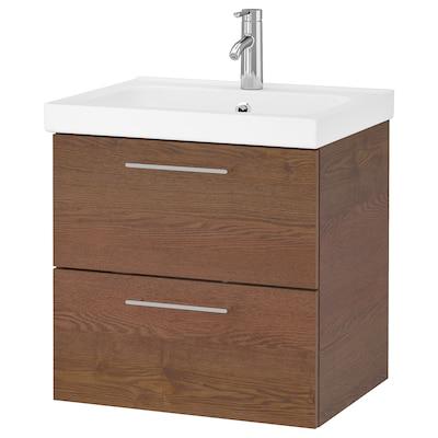 GODMORGON / ODENSVIK meuble lavabo 2tir motif frêne effet brun moyen/Dalskär mitigeur lavabo 63 cm 60 cm 49 cm 64 cm