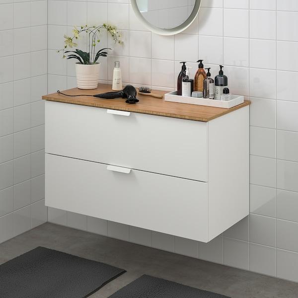 GODMORGON / TOLKEN Meuble lavabo 2tir, blanc/bambou, 102x49x60 cm