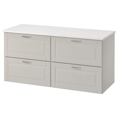 GODMORGON / TOLKEN Meuble lavabo 4tir, Kasjön gris clair/marbré, 122x49x60 cm