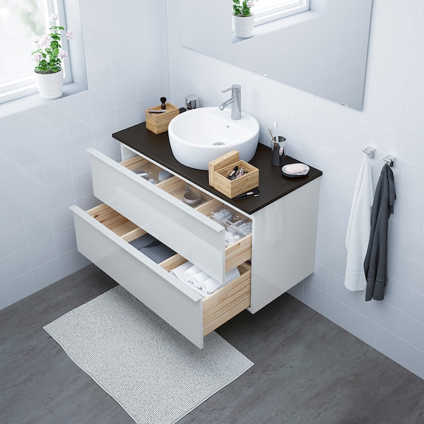 GODMORGON/TOLKEN / TÖRNVIKEN Meuble lavabo av lavabo à poser 45, brillant blanc/anthracite Dalskär mitigeur lavabo, 102x49x74 cm