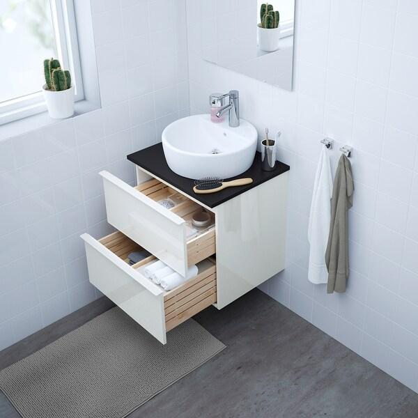 GODMORGON/TOLKEN / TÖRNVIKEN Meuble lavabo av lavabo à poser 45, brillant blanc/anthracite Dalskär mitigeur lavabo, 62x49x74 cm