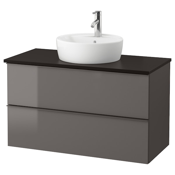 GODMORGON/TOLKEN / TÖRNVIKEN Meuble lavabo av lavabo à poser 45, brillant gris/anthracite Dalskär mitigeur lavabo, 102x49x74 cm