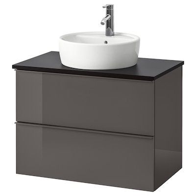 GODMORGON/TOLKEN / TÖRNVIKEN Meuble lavabo av lavabo à poser 45, brillant gris/anthracite Dalskär mitigeur lavabo, 82x49x74 cm