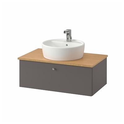 GODMORGON/TOLKEN / TÖRNVIKEN Meuble lavabo av lavabo à poser 45, Gillburen gris foncé/bambou mitigeur lavabo Brogrund, 82x49x74 cm