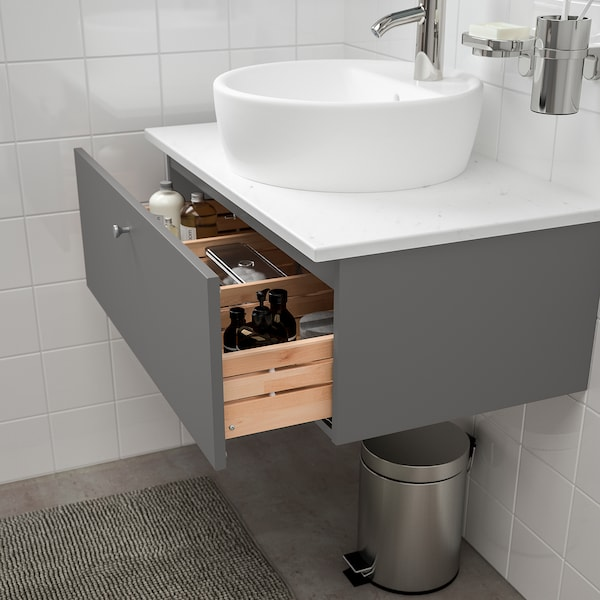 GODMORGON/TOLKEN / TÖRNVIKEN Meuble lavabo av lavabo à poser 45, Gillburen gris foncé/marbré Dalskär mitigeur lavabo, 82x49x45 cm