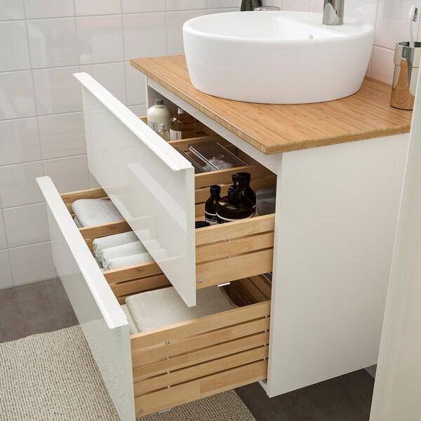 GODMORGON/TOLKEN / TÖRNVIKEN Mobilier salle de bain, 6 pièces, brillant blanc/bambou Dalskär mitigeur lavabo, 82 cm