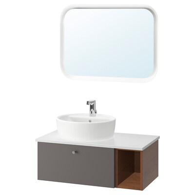 GODMORGON/TOLKEN / TÖRNVIKEN Mobilier salle de bain, 6 pièces, Gillburen motif frêne effet brun/gris foncé/marbré mitigeur lavabo Brogrund, 82x49x45 cm