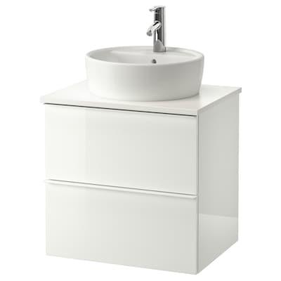 GODMORGON/TOLKEN / TÖRNVIKEN meuble lavabo av lavabo à poser 45 brillant blanc/blanc Dalskär mitigeur lavabo 62 cm 60 cm 49 cm 74 cm