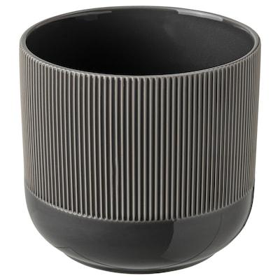GRADVIS Cache-pot, intérieur/extérieur gris foncé, 15 cm
