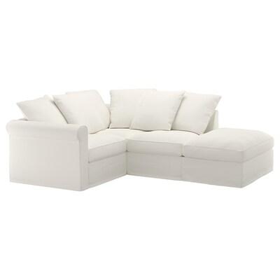 GRÖNLID Canapé d'angle, 3 places, sans accoudoir/Inseros blanc